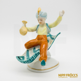 Hollóházi porcelán - Aladdin zöld színű repülőszőnyegen