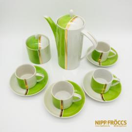 Hollóházi porcelán - Retró zöld-fehér kávés készlet (4 személyes)