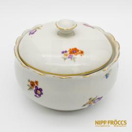 Hollóházi porcelán - Virág mintás bonbonier