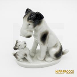 Porcelán, kerámia - Foxi mama kölykével