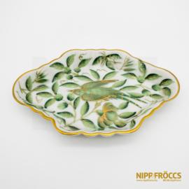 Herendi porcelán - Zöld-arany madár mintás tálka